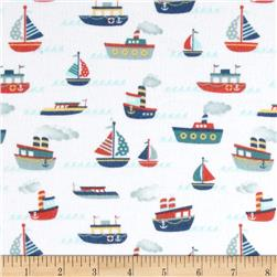 Riley Blake Fly Aweigh Flannel Boat White Fabric