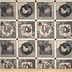 Poulets de Provence Rooster Set Patch Gray