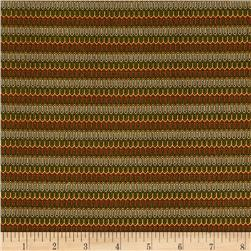 Who's Who Abstract Stripe Olive/Rust