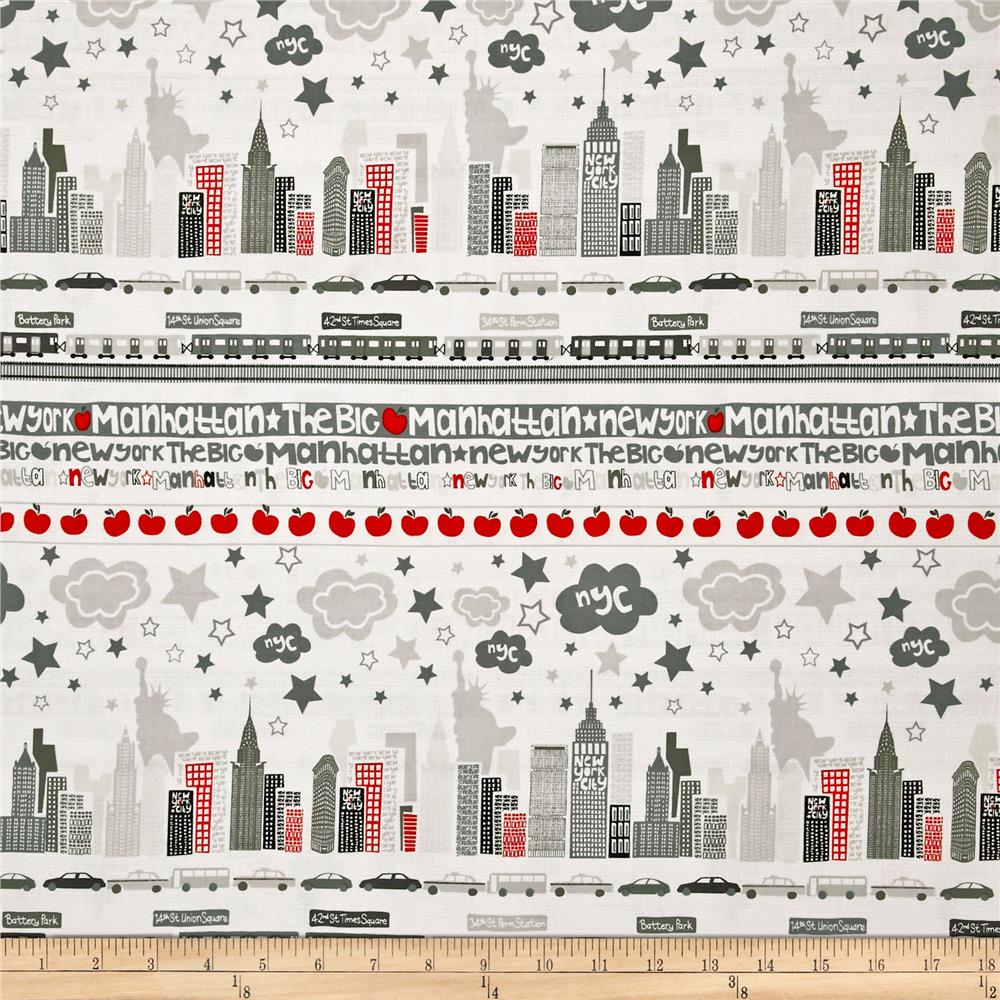 The Big Apple Skyline Grey Red Discount Designer Fabric