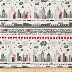 The Big Apple Skyline Grey/Red Fabric