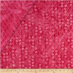 Indian Batik Double Sided Quilted Vertical Dots Fuchsia
