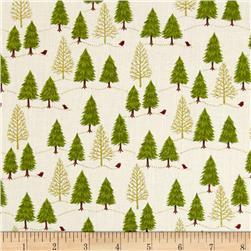Christmas 2014 Novelty Trees Metallic Cream Fabric