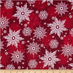 Celebrate the Season Metallic Snowflakes Wine Fabric