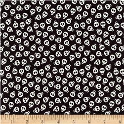 Timeless Treasures Halloween Minis Glow in the Dark Skulls Black