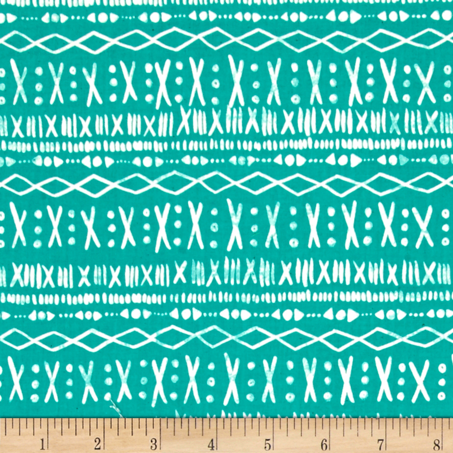 Image of Cotton + Steel Printshop Stitch Turquoise Fabric