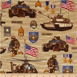 United We Stand US Army Collage Khaki Fabric