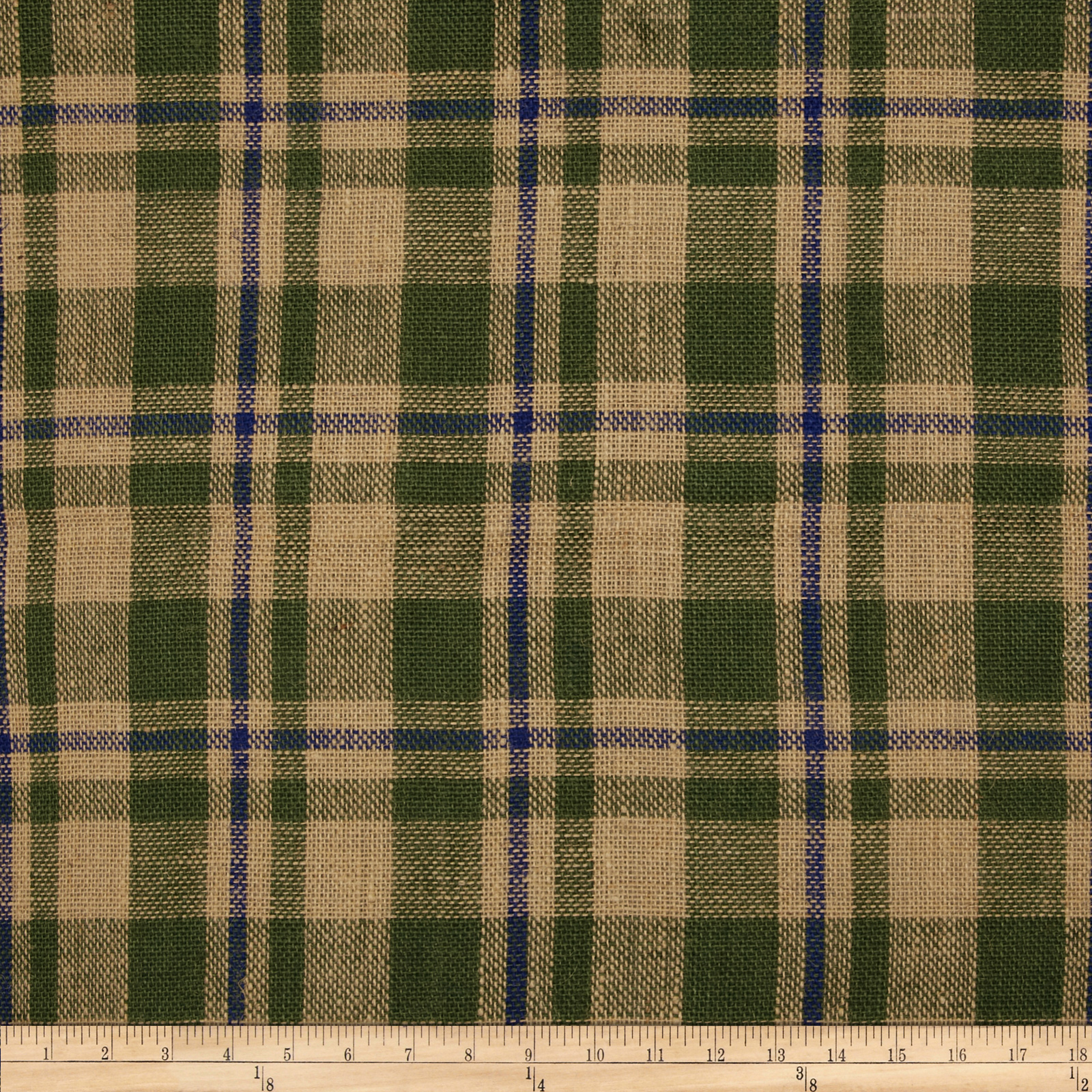60'' Sultana Burlap Plaid Moss/Royal Fabric by James Thompson in USA