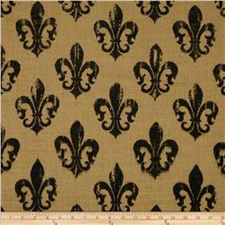 Printed Burlap Rustic Fleur De Lis Natural/Black Fabric