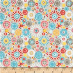 Riley Blake Girl Crazy Flannel Petals Grey Fabric