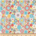 Riley Blake Girl Crazy Flannel Petals Grey