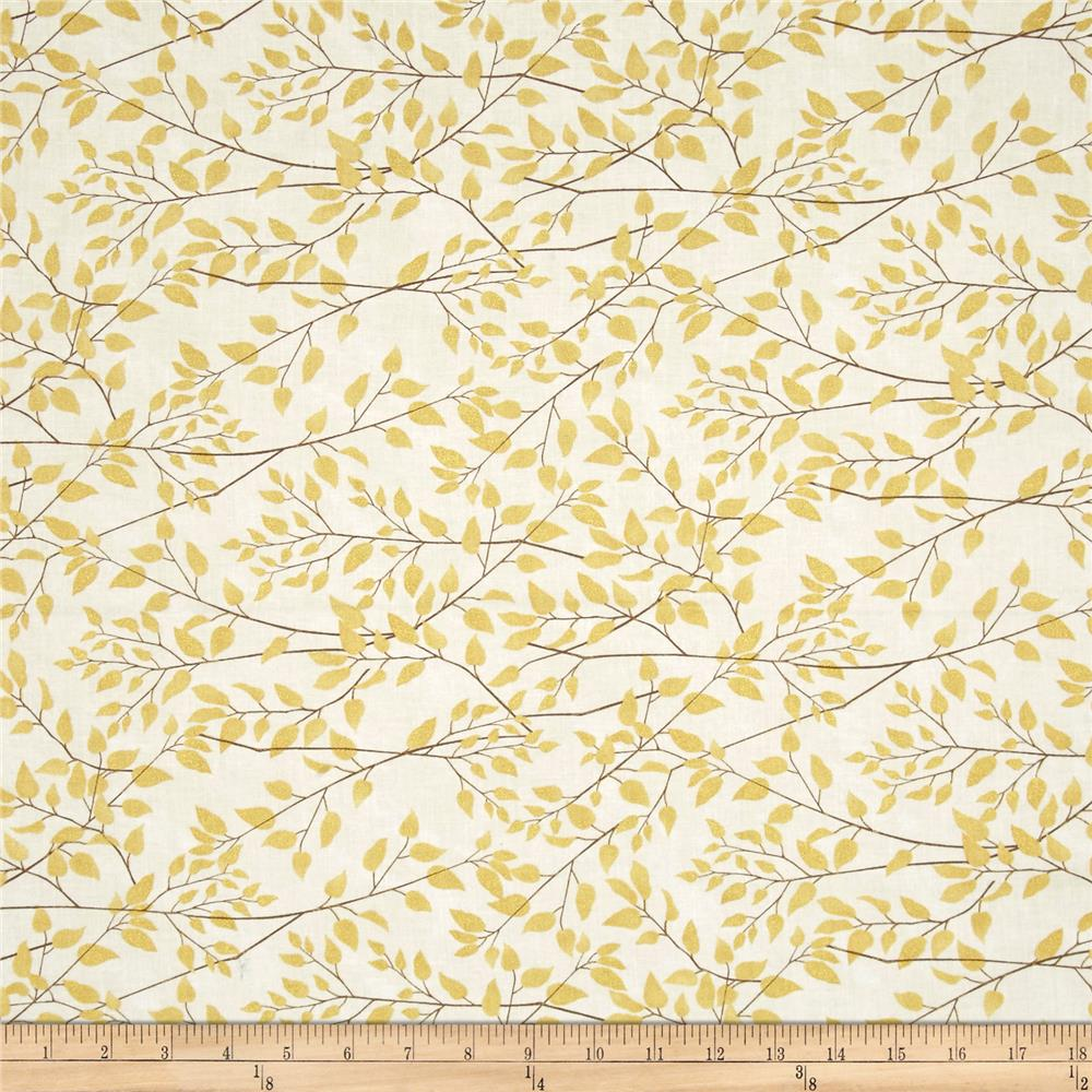 Timeless Treasures Fly Away Metallic Leafy Branches Cream