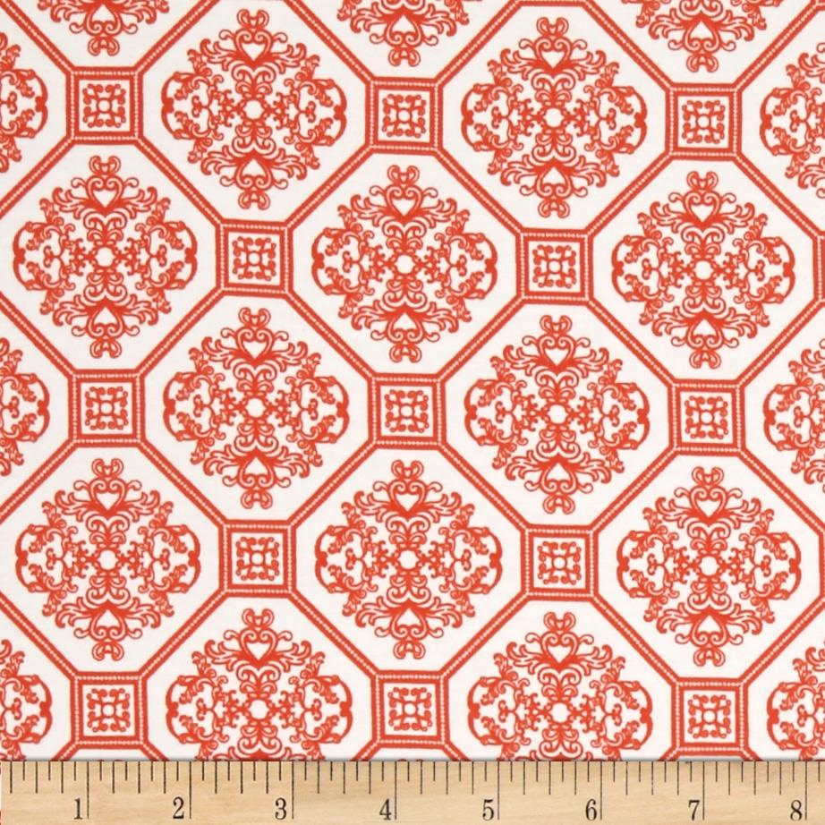 Laguna Stretch Cotton Jersey Knit Tile Tangerine/White