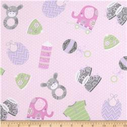 Precious Baby Flannel Tossed Toys Pink Fabric