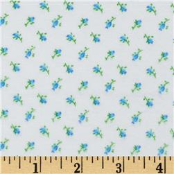 Comfy Flannel Rose Buds Blue