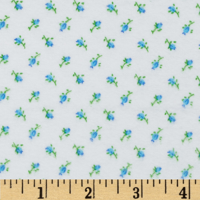 Comfy Flannel Rose Buds Blue Fabric by A. E. Nathan in USA