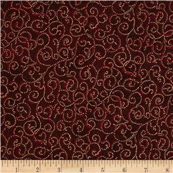 Berries and Blooms Metallic Scroll Burgundy/Gold