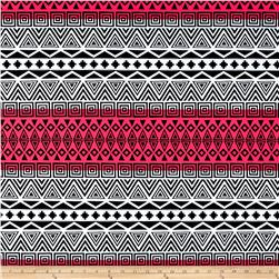 Swimwear Aztec Stripe White/Black/Neon Pink