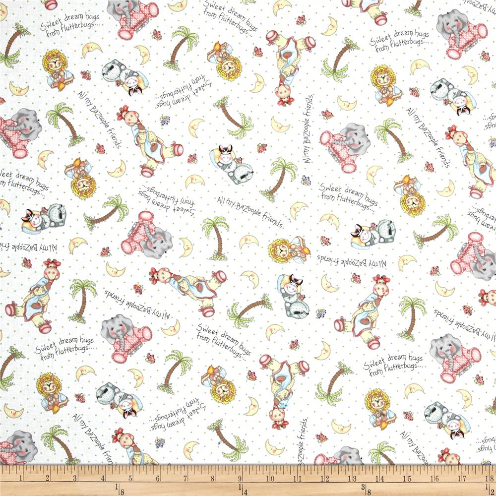 Nursery bazooples sweet dreams animal toss multi for Nursery fabric