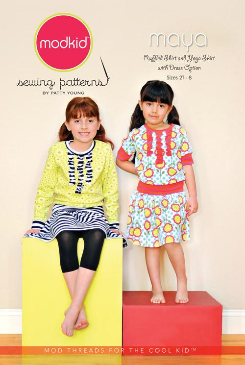 Modkid Maya Ruffled Shirt and Yoga Skirt/Dress Pattern
