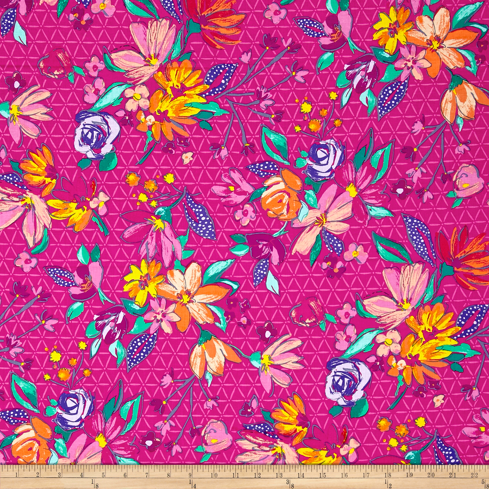 INOpets.com Anything for Pets Parents & Their Pets Summer Garden Flora Fuchsia Fabric