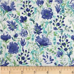 100% European Linen Watercolor Floral Blue