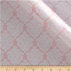 Charmeuse Satin Classic Damask Blush/White Fabric
