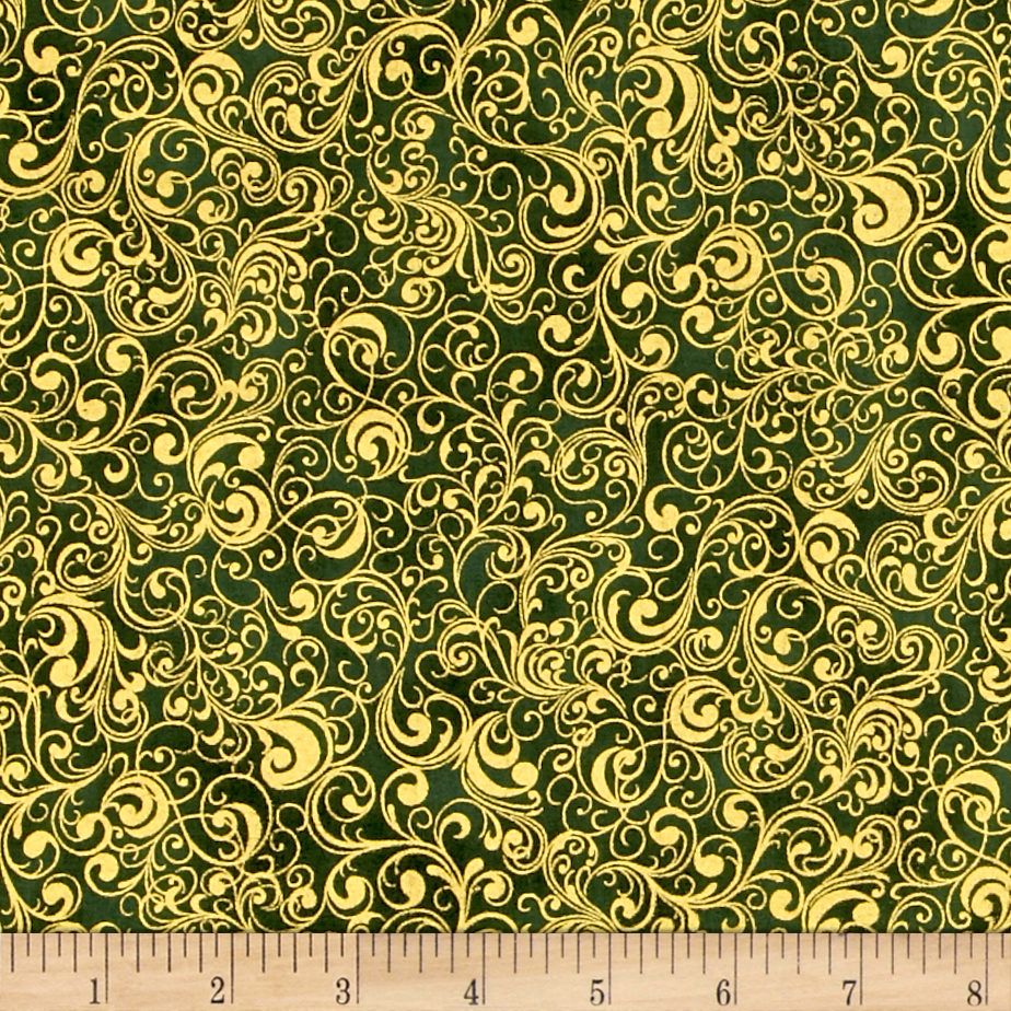 Suite Christmas Metallic Waltz Pine Fabric by RJR in USA