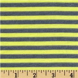 Designer Jersey Knit Stripes Yellow/Dark Grey Fabric