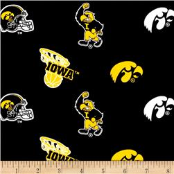 Collegiate Cotton Broadcloth University of Iowa Black Fabric