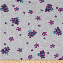 Designer Rayon Jersey Knit Flowers Heather Grey