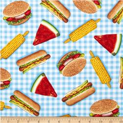 Robert Kaufman Kiss the Cook Picnic Food Blue
