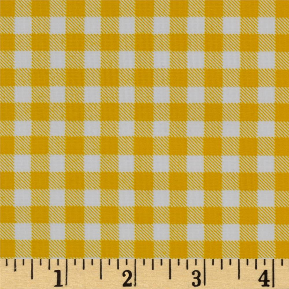 Oilcloth Gingham Yellow Fabric
