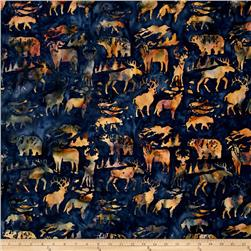 Island Batik Woodland Animals Blue/Brown