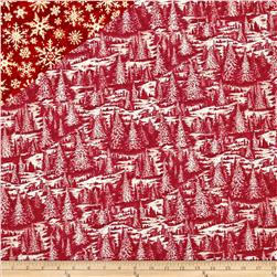 Christmas In The Woods Double Sided Quilted Trees And Stars Red