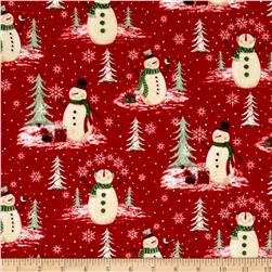 Woodland Noel Flannel Snowmen Red