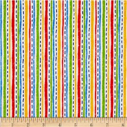 Flannel Novelties Dashed Stripes White/Multi