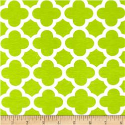 Riley Blake Stretch Cotton Jersey Knit Quatrefoil Lime