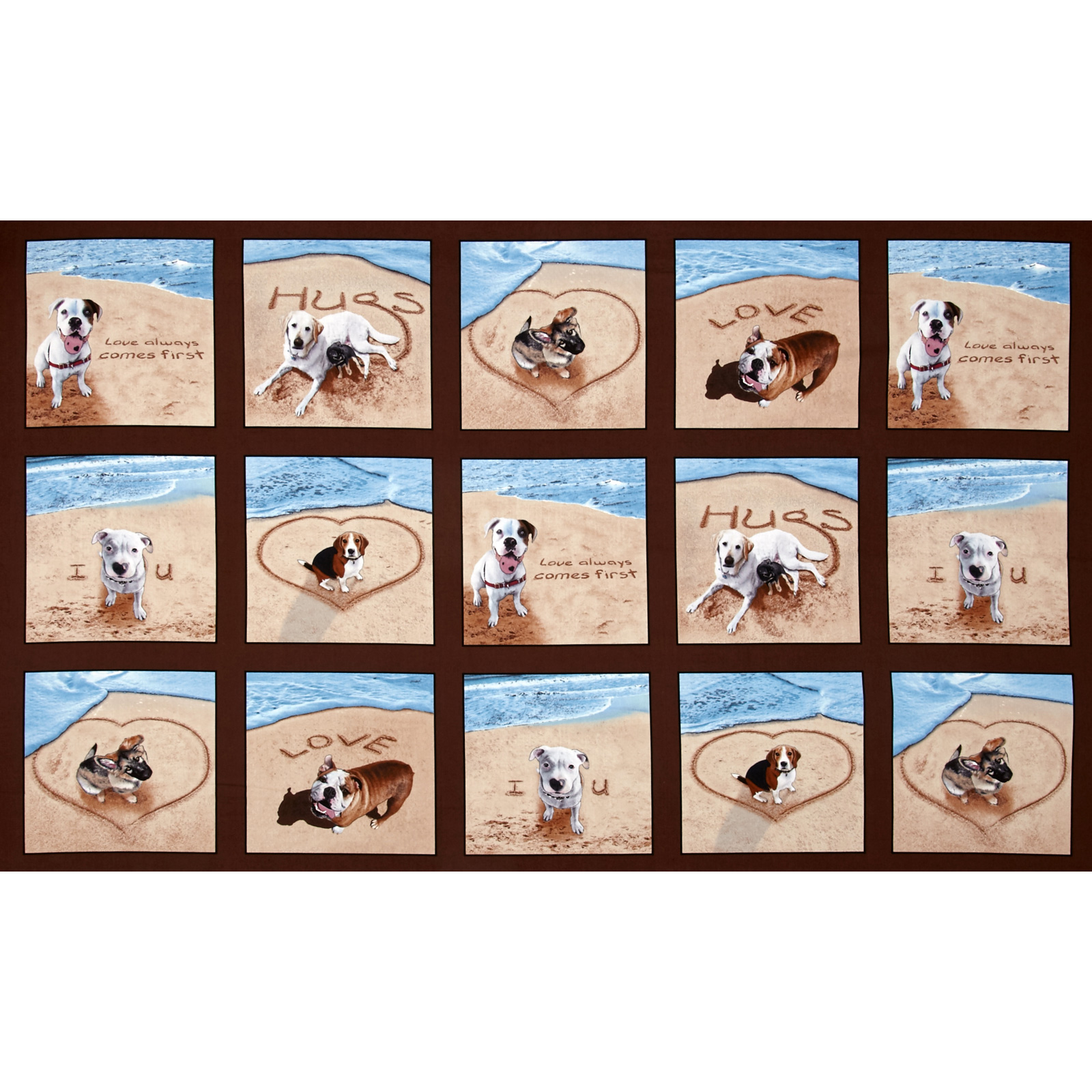 Sand Scribbles Patchwork 24 In Panel Dogs Brown Fabric