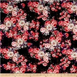 ITY Brushed Jersey Knit  Flowers Black/Pink