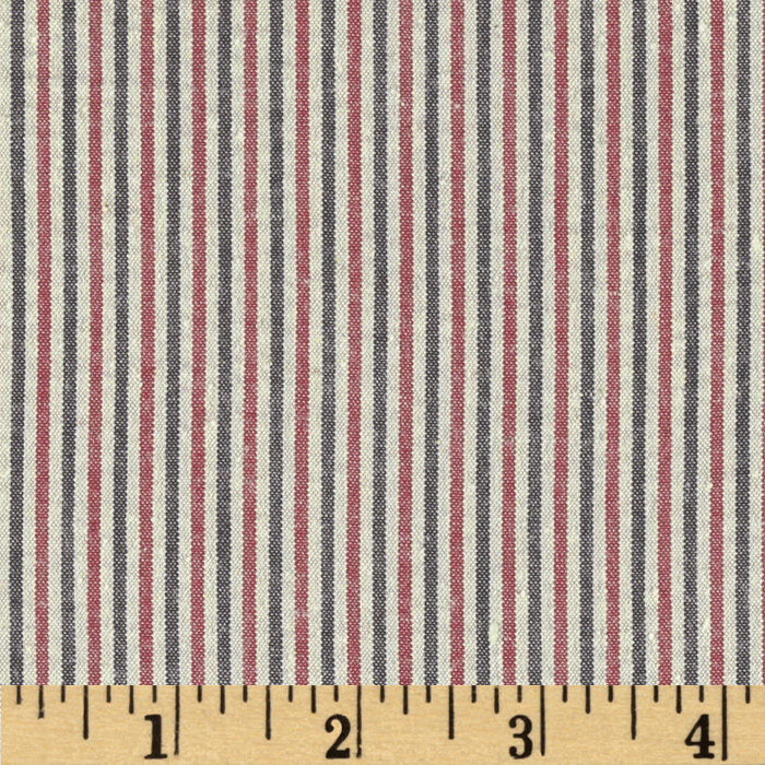 Kaufman Classic Seersucker Stripe Red/Black Fabric