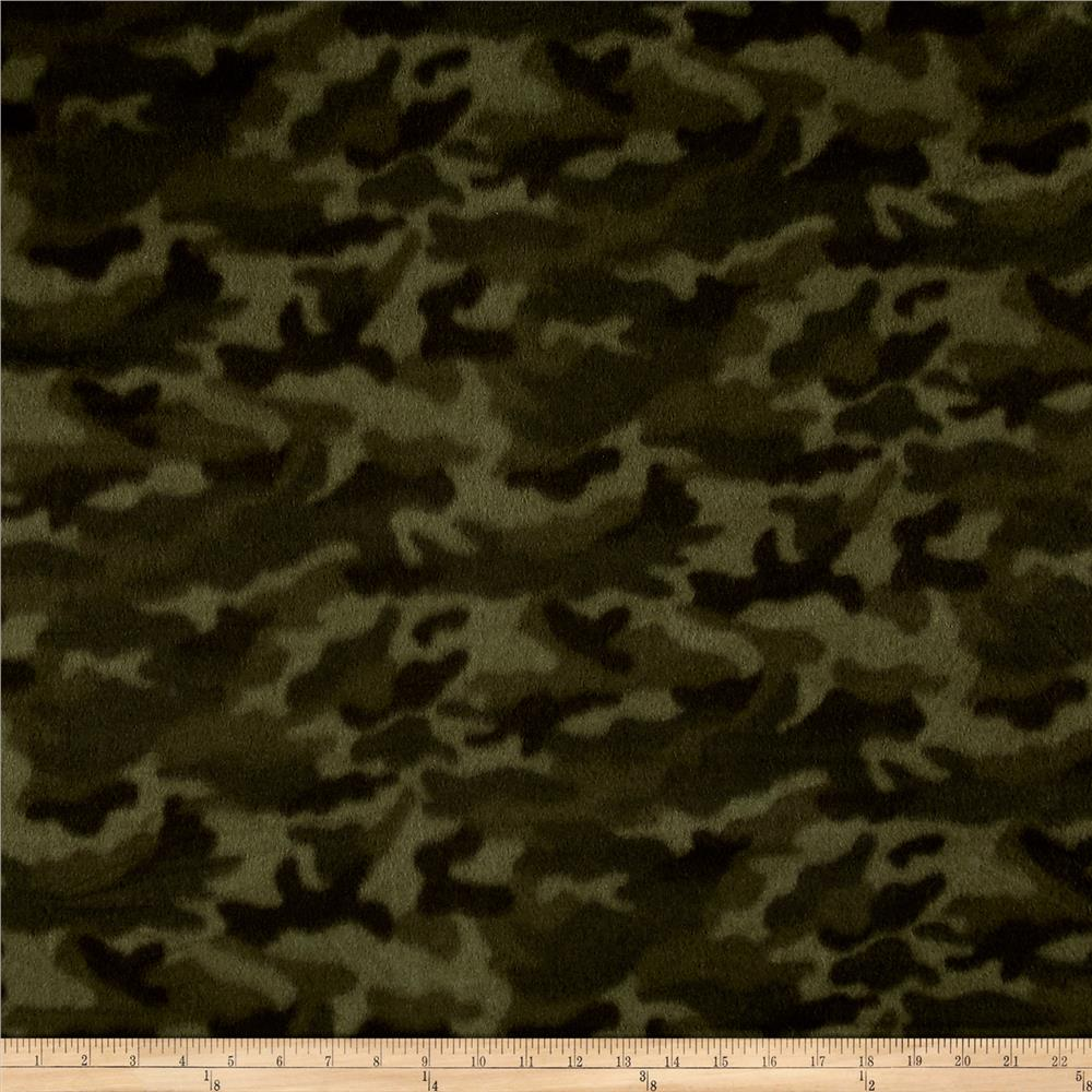 Polar Fleece Camoflauge Green Fabric