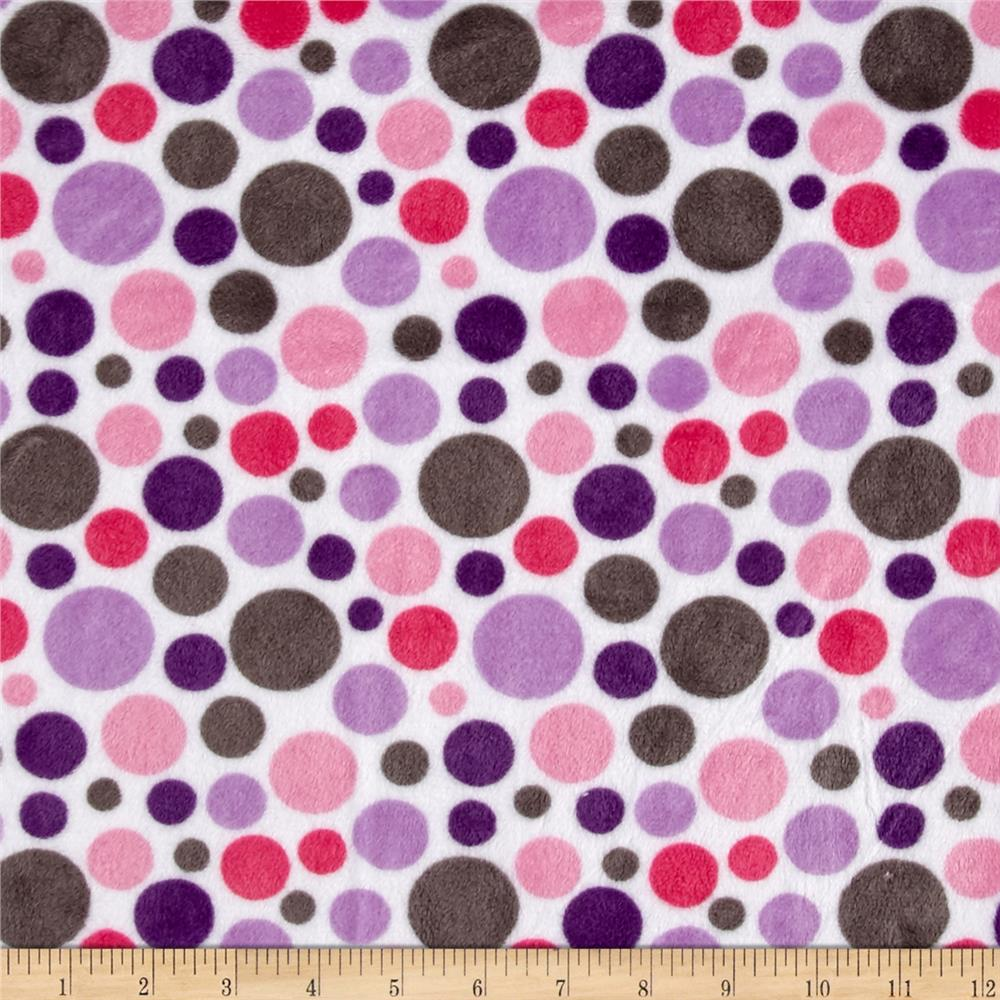 Shannon Minky Classic Bubble Dot Cuddle Lilac/Hot Pink