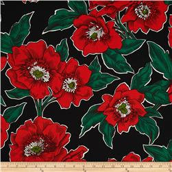 Folklorico Poppies de Potosi Large Flowers Black/Red Fabric