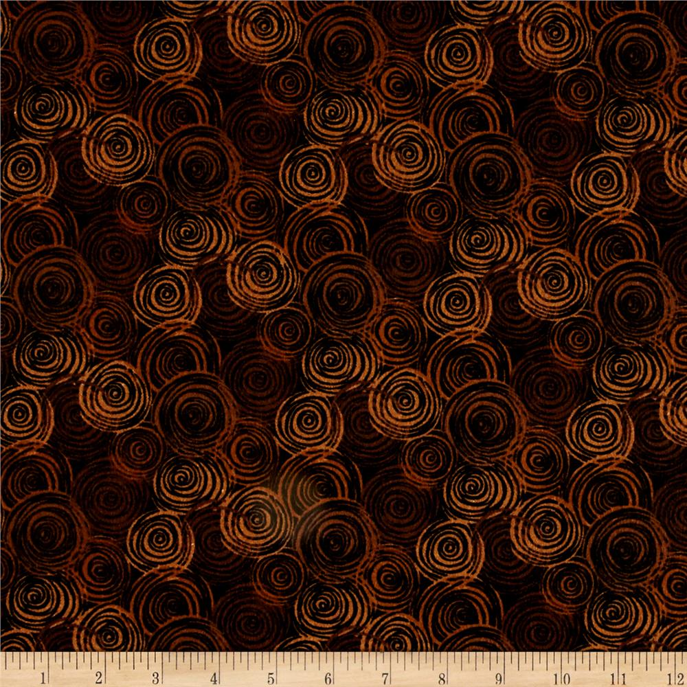 """108"""" Flannel Textured Circles Brown"""