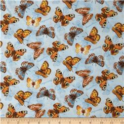 Flights of Fancy Butterflies Allover Blue Fabric