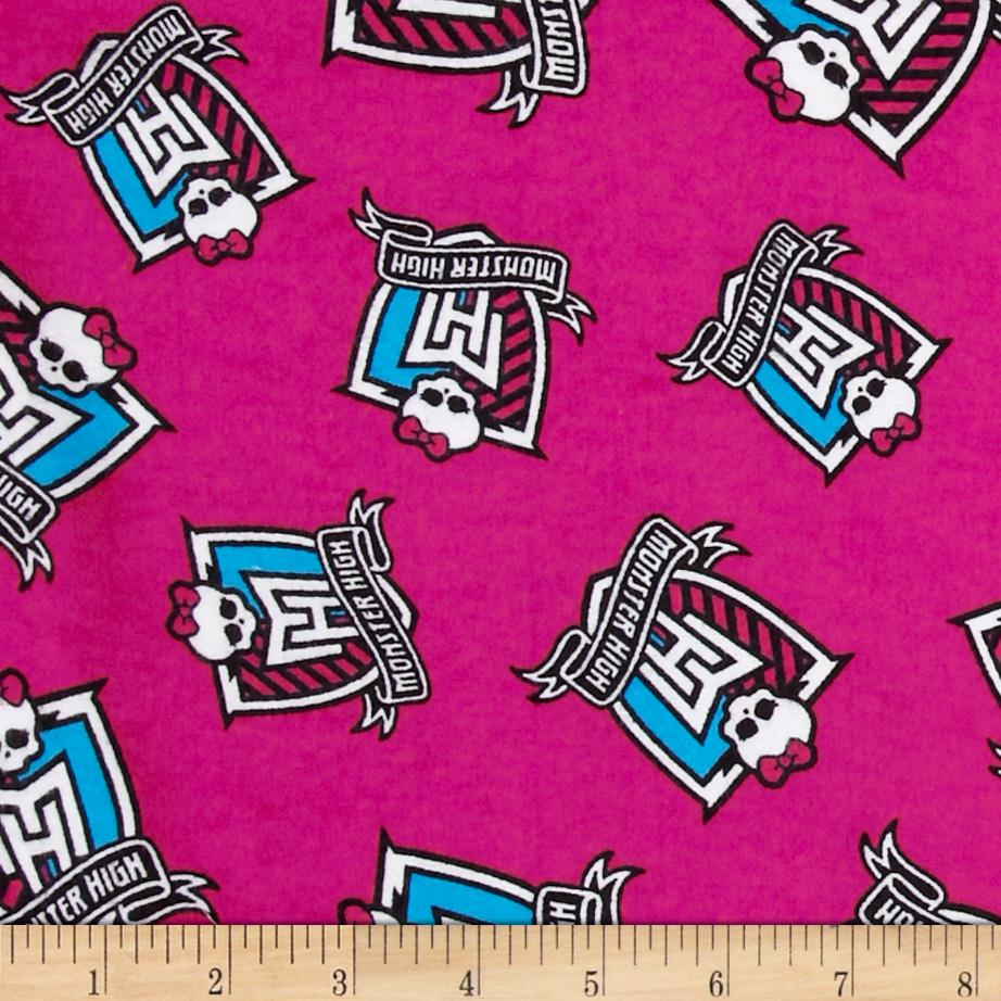 Monster High Flannel Crest Toss Monster Pink