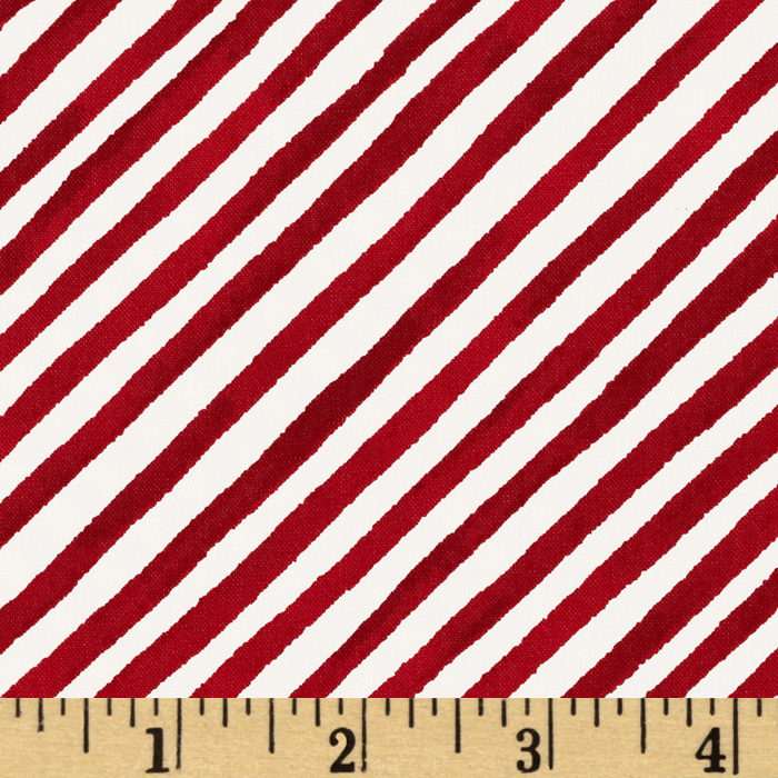 Gingerbread Christmas Diagonal Stripe Red
