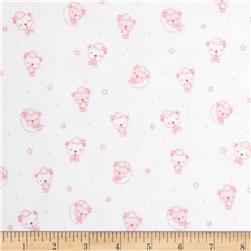 Beaux Be Be Flannel Sleeping Bears Light Pink