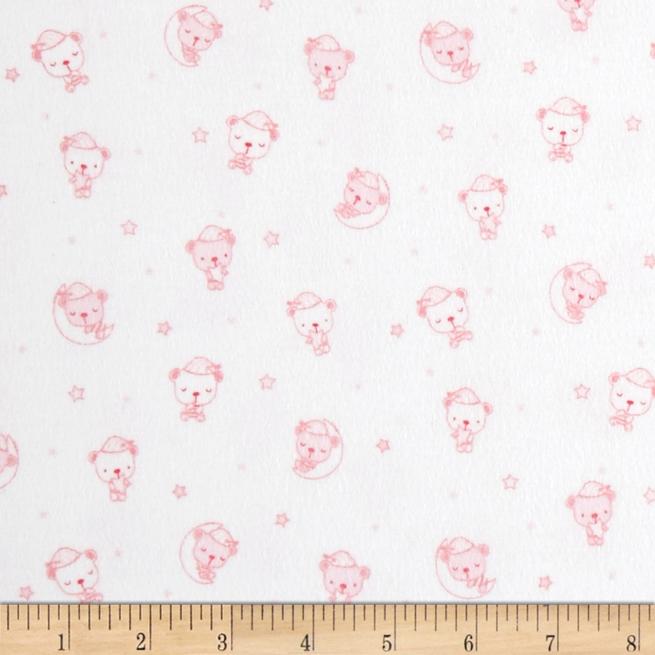 Beaux Be Be Flannel Sleeping Bears Light Pink Fabric by P & B in USA
